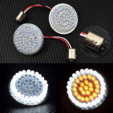 2'' Bullet Turn Signal White/Amber LED Light For Harley Softail Dyna Sportster