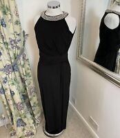 Monsoon Size 12 black stretchy beaded sparkly collared maxi occasion dress