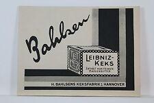 Bahlsen - Leibniz-Keks - Alte kleine Werbetafel - um 1930 - RAR    K/0/6/1
