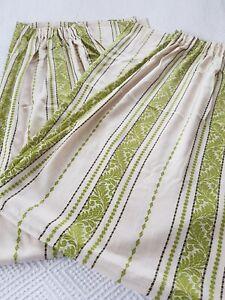 Vintage Retro Green Cream Striped 70s 60s