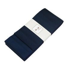 Japanese Traditional KAKU OBI Kimono Navy Belt Polyester Made in JAPAN