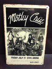 MOTLEY CRUE GIRLS TOUR 87 Concert Poster Vintage Small Metal Sign 20x30 Cm