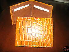 WALLET BIFOLD EXOTIC CROCODILE PRINT NEW TAN LEATHER