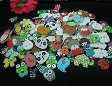 100pcs Random Mixed Cute Cartoon Flatback Wood Sewing Buttons Diy Scrapbooking
