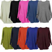Ladies Italian Knitted Batwing Plait Back Jumper Women Angora Wool Top Plus Size