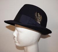 Vintage Dynafelt Navy Blue Fedora Hat Rat Pack Sintra Swing Dandy  - 6 7/8