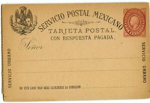 MEXICO REPLY CARD 2c+2c, EARLY ISSUE, LIGHT EDGE TONING                  (A825)