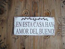 Spanish wood sign. En esta casa hay amor del bueno. Rustic farmhouse wood sign.