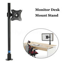 """Single Computer Monitor Arm Mount Desk Stand 14""""-27"""" LCD LED Screen TV"""