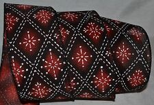 """Wired Ribbon~Woven~Christmas Snowflake~Red~Black~White~2.5""""~Wreath~Holiday~Bow"""