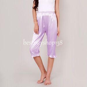 Womens Anti-Static Slip Pettipants Loose Satin long legged bloomers Sleepwear