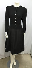 VINTAGE PAULINE TRIGERE COCKTAIL DRESS BLACK CREPE TAFFETA RHINESTONE BUTTONS 8