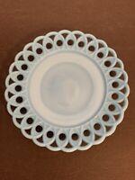 "EAPG Challinor Taylor & Co No. 100 (OMN) Blue Milk Glass 8"" Plate Scarce"