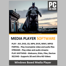 NEW AVI MP4 DIVX WMV MPEG DVD VIDEO MEDIA PLAYER SOFTWARE + WINDOWS 7 8 10