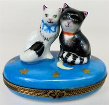 Limoges La Gloriette Star Struck Cat Lovers Boy Girl Kitty Porcelain Trinket Box