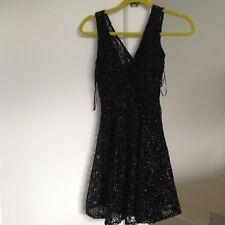 BNWT New with tags Bershka Black Lace Crochet Sparkle Dress, Size XS Petite