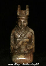 Natural Hetian Old Jade Carving Ancient Civil Servant People Statue Sculpture