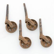 """4 Antique All Metal 1 1/2"""" Furniture Stem Caster Wheels"""