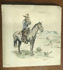 M. Sussman cowboy artwork drawing horse cigarette smoking western ten gallon hat