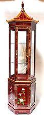 Oriental furniture curio cabinet, burgundy lacquer hexagon cabinet