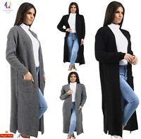 UK Womens Full Length Long Sleeve 2 Pocket Open Side Slits Ladies Maxi Cardigan