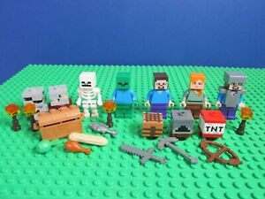 lego MINECRAFT STEVE minifigure ALEX ZOMBIE SKELETON TNT  BUNDLE set 3069