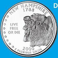 2000 D New Hampshire Quarter 50 State Statehood Denver ~ UNC 2nd