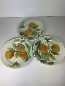"""Vintage St Clement France Majolica Orange Fruit Blossom 3 Plates 8.5"""""""
