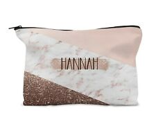 Personalised Make Up Bag, Travel bag. Gold Geometric Bronze Birthday Bridesmaid