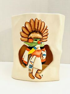 "VTG Hopi Katchina 7"" Sandstone Creations Navajo Hand Painted Vase Signed USA"