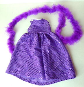 """Doll Clothing Purple Sequined Dress and Feather Boa Outfit for 18"""" doll"""