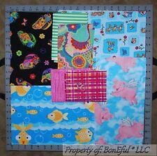 BonEful Fabric COTTON SCRAP QUILT LOT Baby VTG Pig Blue Pink Fish Car Bunny RARE