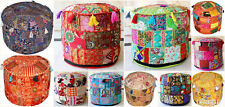 INDIAN HANDMADE COTTON PATCHWORK POUFS COVER VINTAGE OTTOMAN ROUND POUF ETHNIC