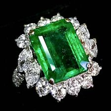 OUR-FINEST! 10.06TCW Emerald Diamonds In handcrafted 18K solid white gold ring