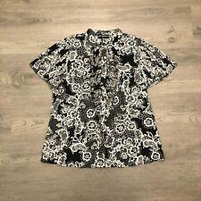 Karl Lagerfeld Womens Black/White Button Blouse Shirt Ruffle Sleeves Size L NWT