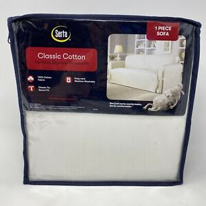 Serta Relaxed Fit Durable Furniture Slipcover Sofa Cover 100% Cotton White