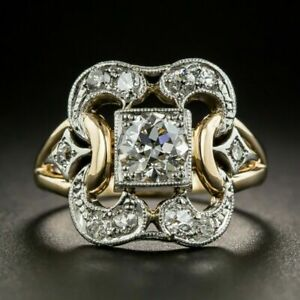 Fashion 18K Gold Rings for Women White Sapphire Wedding Jewelry Gift Size 6-10