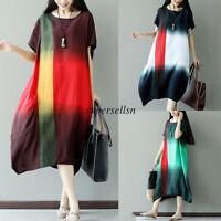 Vintage FWomen Summer Cotton Linen Oversize Casual A Line Loose Tunic Maxi Dress