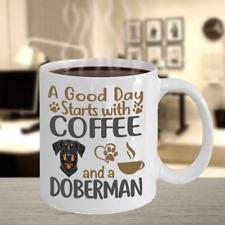Coffee With Doberman Coffee Mug, Doberman Dog Gift, Doberman Pinscher Mug