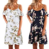 Womens Off Shoulder Floral Holiday Party Short Mini Dress Summer Beach Sundress