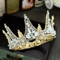 Full Round Golden Crown Vintage Headband Baroque Crystal Tiara Hair Accessories