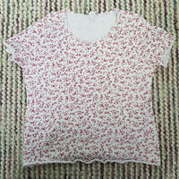 Ladies CHARMANCE T-Shirt Top Size 22/24 White Floral Stretch Cotton Short Sleeve
