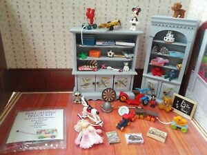 Dolls house Toy Shop shelves.  Large Lot. 12th Scale. New and used