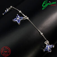 Pear 4x3mm Top Blue Tanzanite Unheated 925 Sterling Silver Bracelet 7.5 Inches.