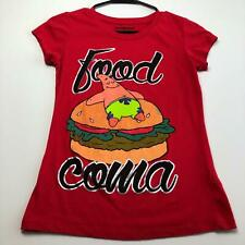 Patrick Spongebob Food Coma Nickelodeon Girl's T Shirt Medium M Red Short Sleeve