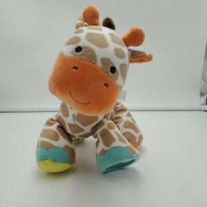 Carters Brown Orange Giraffe Plush Rattle Teether Crinkle Squeaker Soft Toy