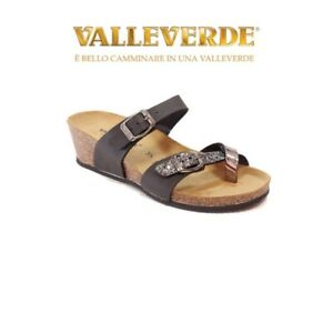 Valleverde - Ciabatta Donna Infradito - G51395 Nero Infra-alluce con zeppa