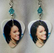Rihanna Guitar Pick Earrings with Blue Swarovski Crystals