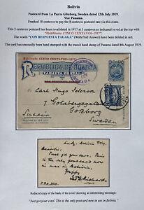 1919 La Paz Bolivia Postal Stationery Postcard Cover To Goteborg Sweden