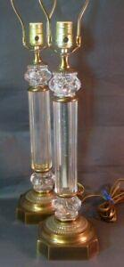 Vintage Mid Century Pair Paul Hanson Glass Column Lamps Brass Hollywood Regency